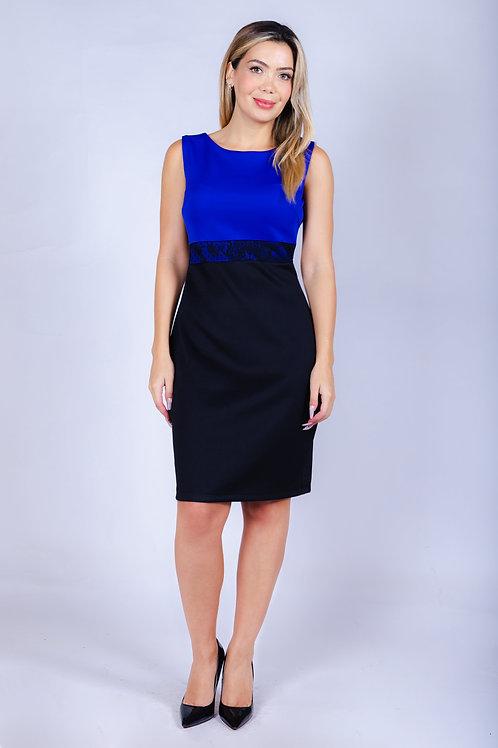 Vestido Bellísima con Aplicación de Encaje. Negro Azulino.