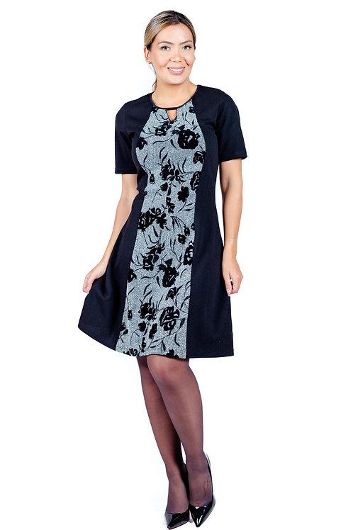 Vestido  Evase |  Negro Flores | VE-333 | Bellisima