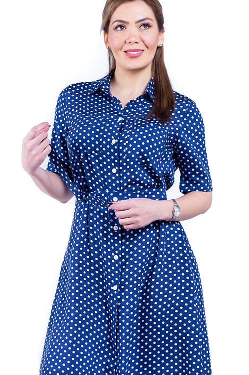 Vestido camisero azul puntos  VE-360