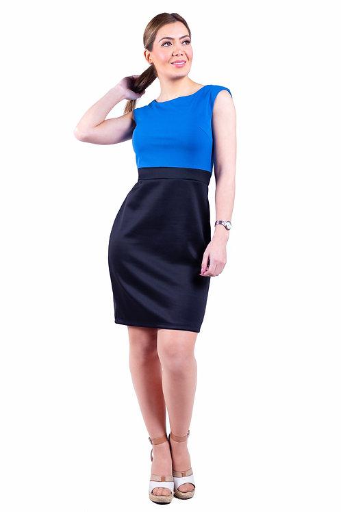 Vestido Manga China Negro/Azulino Bellísima  VE-353