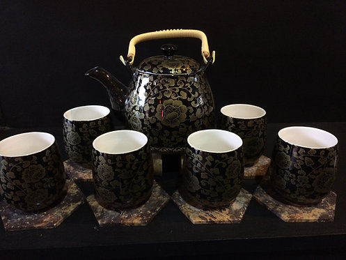 Oriental Tea Pot Set (Black w Gold Flowers Design)