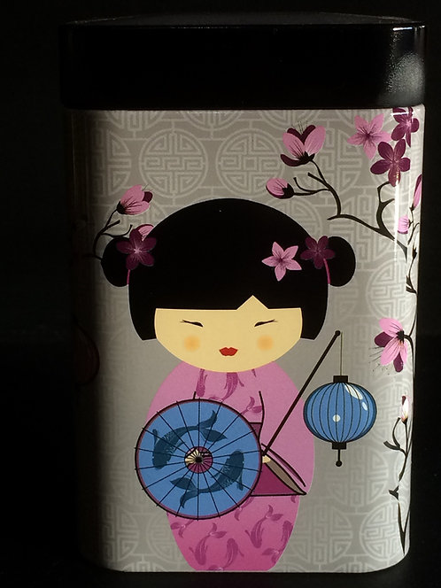 """Little Geisha"" Tea Tin, White Tin"