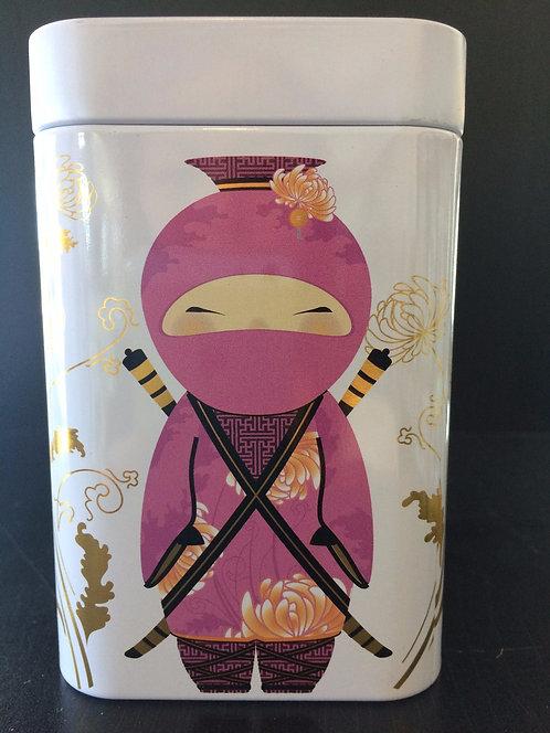 """Tea Tin """"Little Ninja"""" Gold and Pink"""