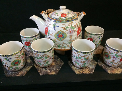 Oriental Tea Pot Set (Birds & Flowers)