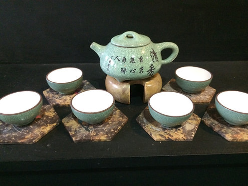 Yixing Purple Clay Tea Pot Set (Green)