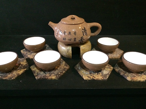 Yixing Purple Clay Tea Pot Set (Brown)