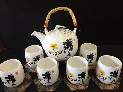 Oriental Tea Pot Set (Yellow Flowers)