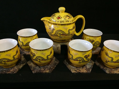 Oriental Tea Pot Set (Yellow Dragon)