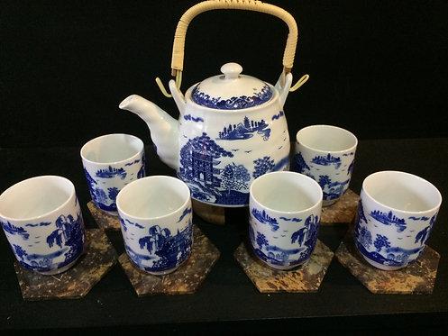 Oriental Tea Pot Set (White w Blue Design)