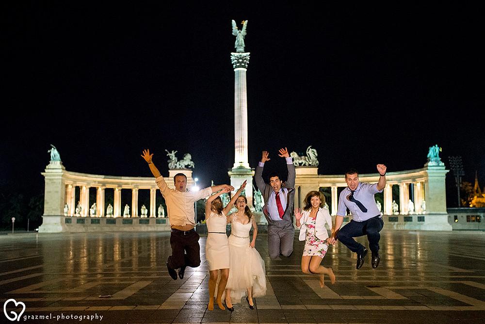 canadian wedding in Budapest, Grazmel Wedding Photography, Hősök tere