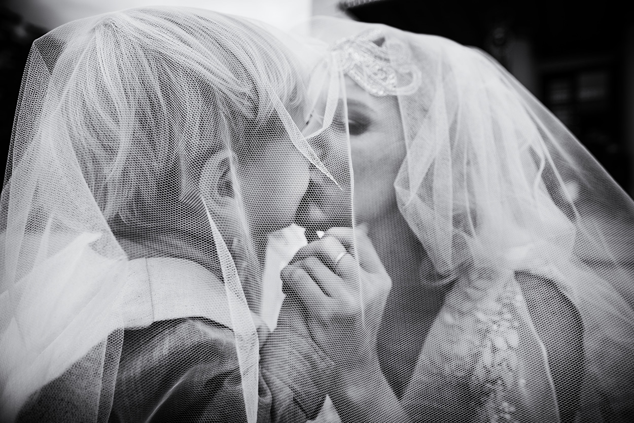 bride and her son after the wedding