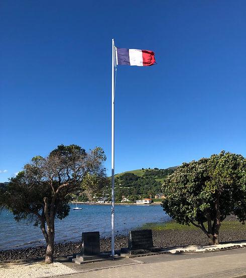 French flag on the Akaroa foreshore