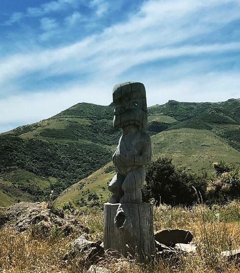 Maori Pou carving in the hills overlooking Akaroa