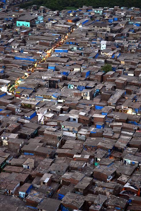 Huts in the Dharavi slum