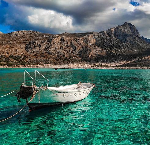 Boat in the Balos Lagoon in Crete