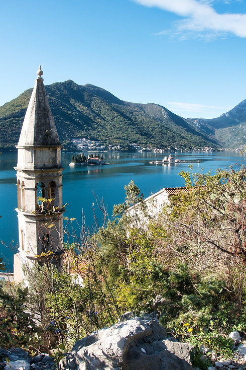 Perast view on two islands, Montenegro