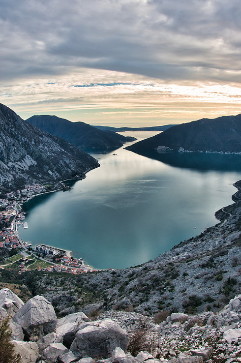 View over Kotor Bay from mountain in Risan