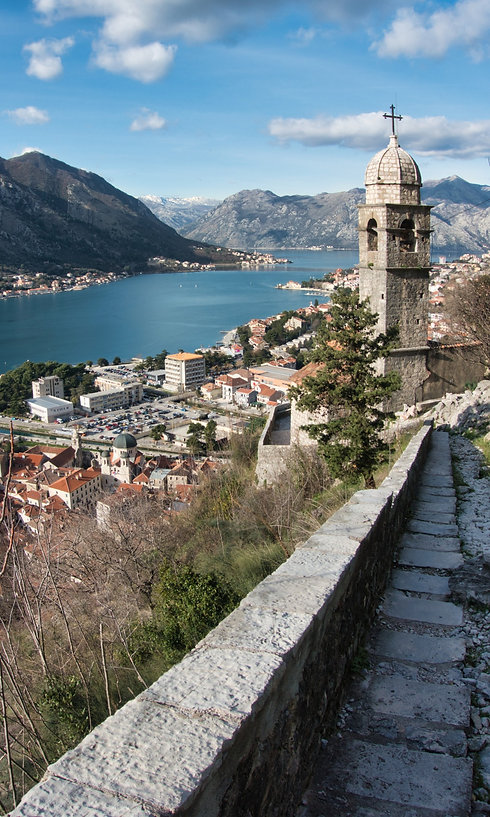 View from old city walls of Kotor, Montenegro
