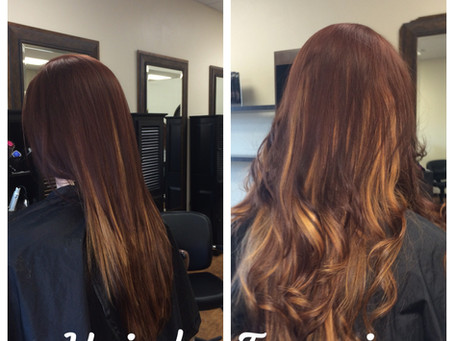 Full Balayage, Base Color with Haircut Style