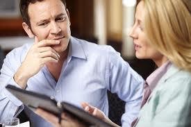 woman explaining to a man