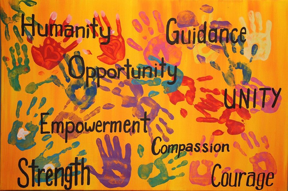 Art work with hand prints with the words 'Humanity', 'Guidance', 'Opportunity', 'Unity', 'Empowerment', 'Compassion', 'Strength', 'Courage'