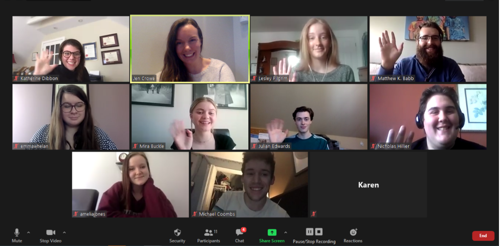 'Zoom' screen with 11 people from the Provincial Youth Leadership Council and Choices for Youth
