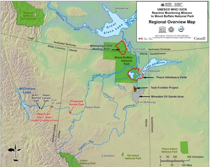 Threats to Wood Buffalo National Park from various industries