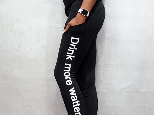 Drink More Watter brand women's athletic tights