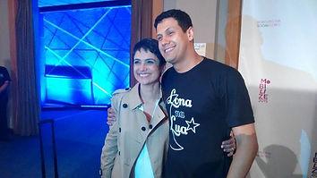 "Lona na Lua marca presença no ""MOBILIZE 2015"". Na foto Sandra Annenberg e Zeca Novaes."