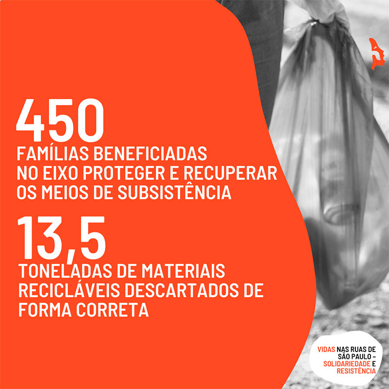 450 famílias beneficiadas pelo eixo PROTEGER E RECUPERAR OS MEIOS DE SUBSISTÊNCIA do Projeto Emergencial Vidas nas Ruas de São Paulo