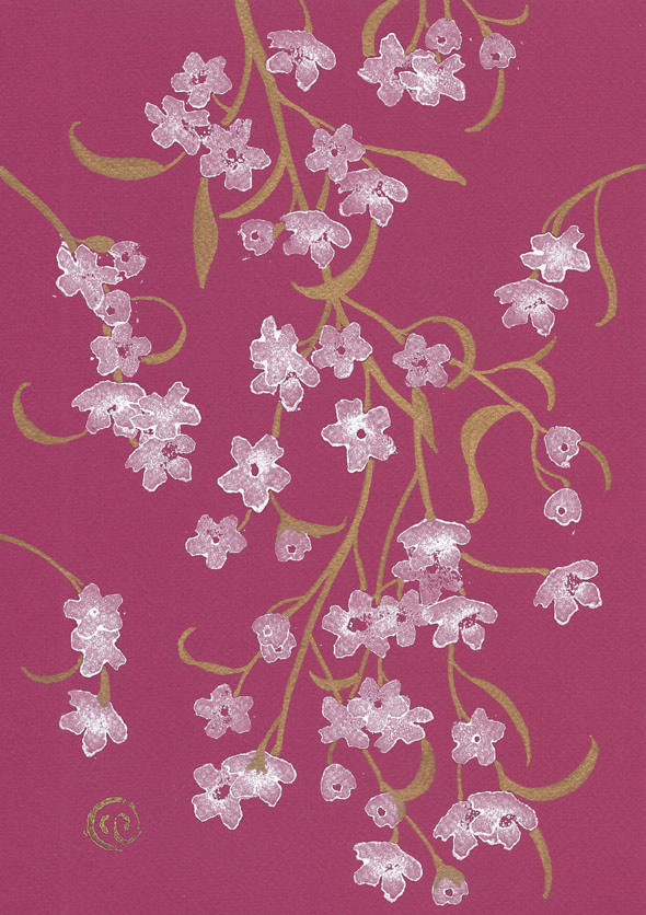Cherry blossom on a plum background - print