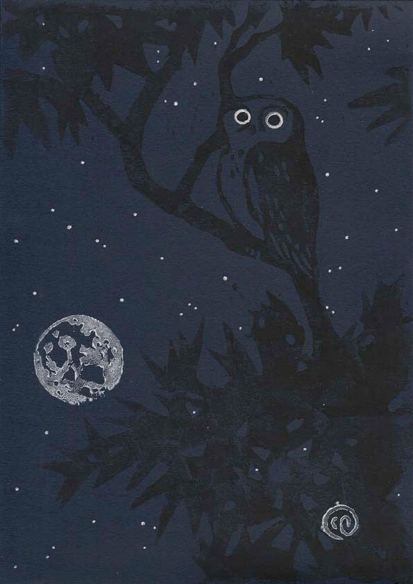 Owl and midnight sky print