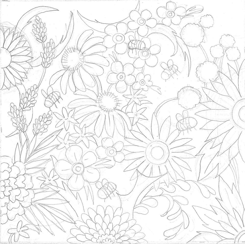 Sketch of bee pattern
