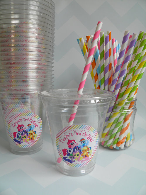 Set of 24-My Little Pony Party Cups, Lids and Straws