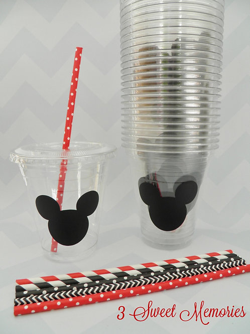 24 Mickey or Minnie Party Cups, Lids and Straws