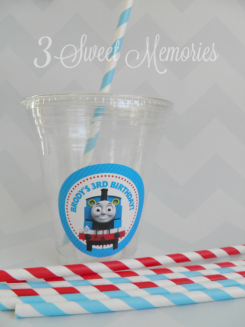 Set of 24-Thomas the Train Party Cups, Lids and Straws