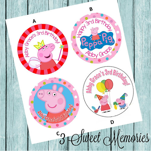 Peppa Pig Sticker or Favor Tags (Set of 12-60)
