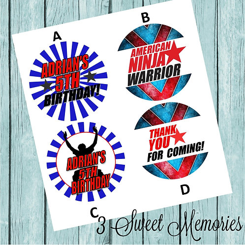 American Ninja Warrior Stickers or Favor Tags