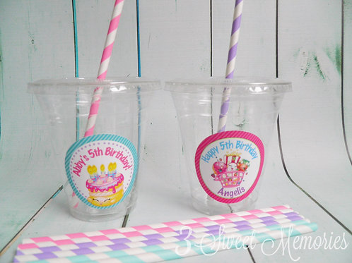 Set of 24-Shopkins Party Cups, Lids and Straws