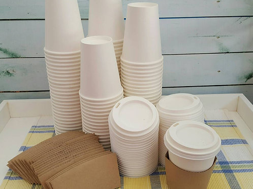 25- 8oz White Paper Hot Cups with Lids- small, Coffee, kids Party, hot chocolate