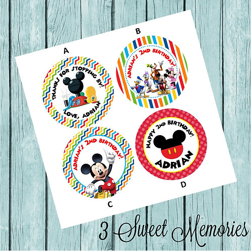 Mickey Clubhouse Sticker or Favor Tags (Set of 12-60)