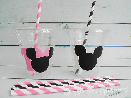 24 Minnie Party Cups with Age, Lids and Straws