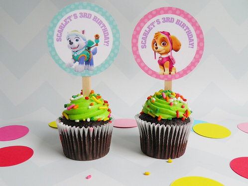 Skye and Everest Cupcake Toppers