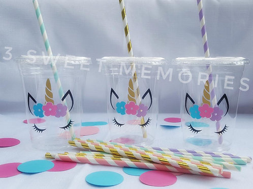Unicorn Party Cups w/Lids and Straws