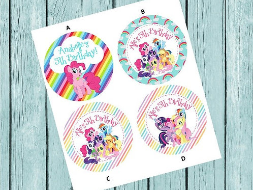 My Little Pony Stickers or Favor Tags (Set of 12-60)