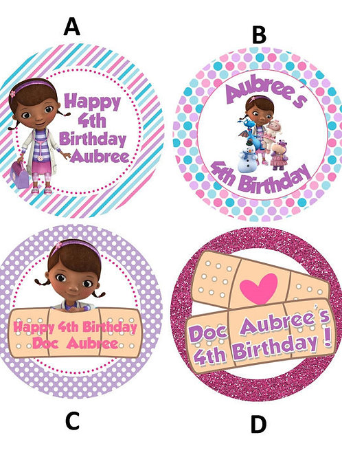 Doc McStuffins Sticker or Favor Tags (Set of 12-60)