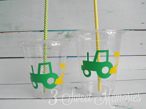 Set of 24-Tractor Party Cups, Lids and Straws