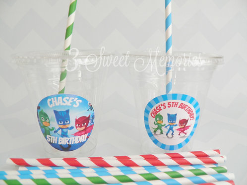 Set of 24- PJ Masks Party Cups, Lids and Straws