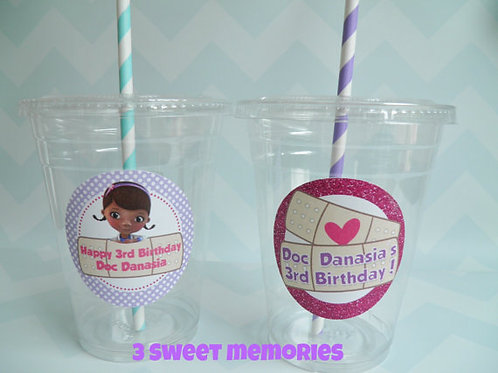 Set of 24- Personalized Doc McStuffins Party Cups, Lids and Straws