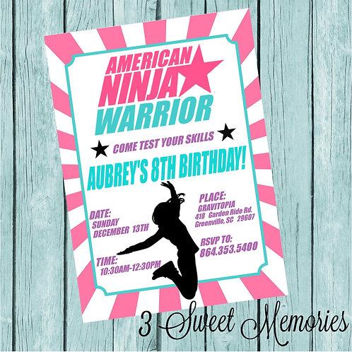 Printable American Ninja Warrior Invitation- Purple/Teal